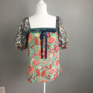 Anthropolgie Fei mixed pattern silk blouse Size 10